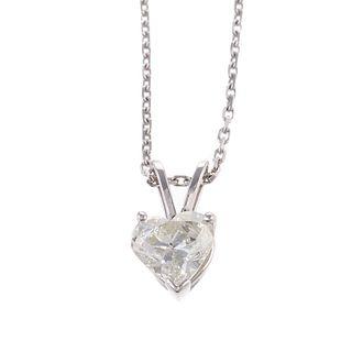A 0.90ct Heart Shape Diamond Pendant in14K