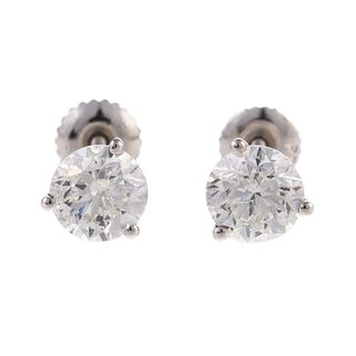 A Pair of 2.30 ctw Diamond Studs in Platinum