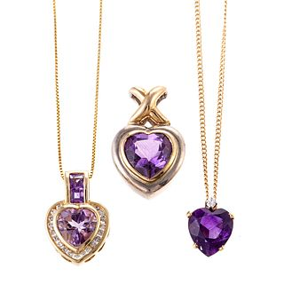 A Collection of 14K Amethyst Heart Jewelry