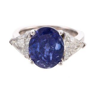 A 5.35 ct Oval Tanzanite & Diamond Ring in 14K