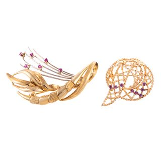 A Pair of Ribbon & Ruby Brooches in 18K & 14K