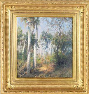 Hermann Herzog (1832-1932) O/C, Florida Palms