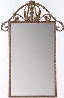 20th C Pressed Iron Mirror