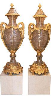 Monumental Czechoslovakia Dore Bronze/Crystal Urns