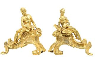 19th C Pair of French Gilt Bronze Chenets