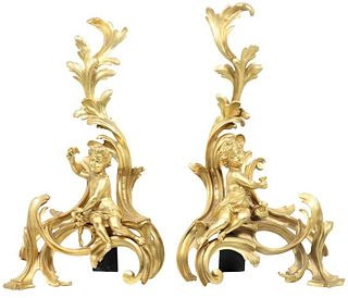 Pair of Antique French Gilt Bronze Chenets