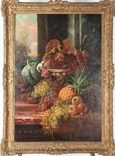 19th C Still Life with Fruit, Oil on Canvas