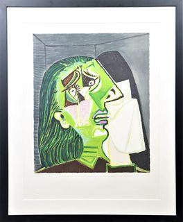 After Pablo Picasso, Femme au Mouchoir Litho, COA
