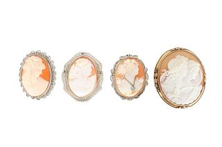 (3) Gold & (1) Silver Cameo Pins