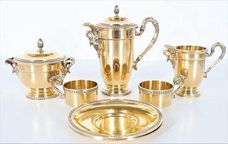 French Vermiel Silver Tea Service, 50 OZT