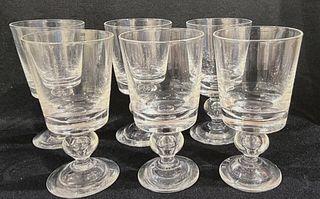 Set of (6) Steuben Crystal Water Goblets