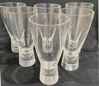 (6) Steuben Modernist Water Glasses, 1950's
