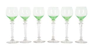Set of (6) Steuben Clear to Green Wine Goblets