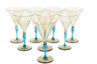 Set of (8) Steuben Amber & Celeste Blue Goblets
