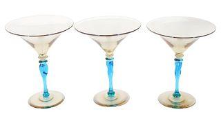 Steuben Amber & Celeste Wine Goblets