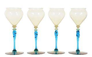 Set of (4) Steuben Amber & Celeste Blue Glasses