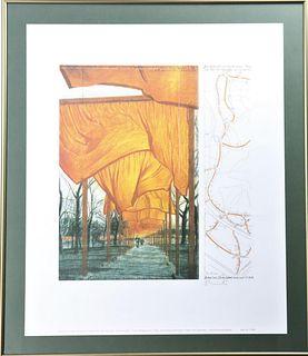 "Christo (1935-2020)Bulgarian,""Gates"" Signed Print"