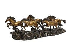 Massive Patinated Bronze Sculpture of Running Horses