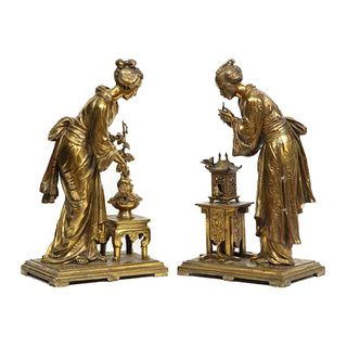 Rare Pair of French Japonisme Bronze Sculptures by Eugene Laurent, circa 1870