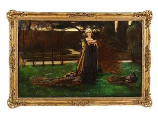 John Young Hunter Magnificent Quality Oil Painting Lady with Three Peacocks In The Garden 19th Century