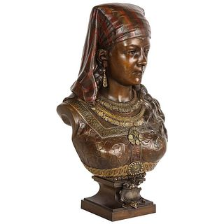 An Exquisite French Multi-Patinated Orientalist Bronze Bust of Saida, by Rimbez C. 1870