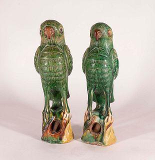 Two Glazed Pottery Parrots