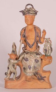 Longquan Figure of Deity with Dog