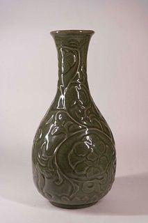 Large Celadon Porcelain 'Peony' Vase