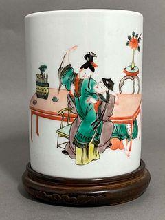 Brush Pot w/ Amorous Couple Kangxi Mark & Period