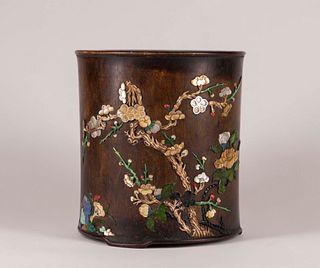 Chinese Hardstone-Inlaid Huanghuali Brush Pot