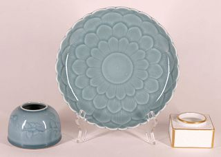Two Chinese Brush Washers and a Footed Dish
