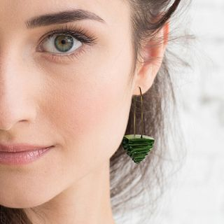 Eco-Friendly Olive Carved Pyramid earrings