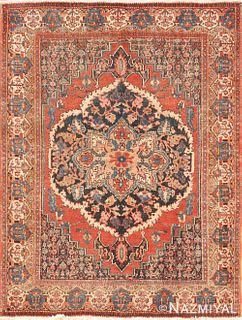 ANTIQUE PERSIAN SENNEH RUG. 4 ft 6 in x 3 ft 5 in (1.37 m x 1.04 m)