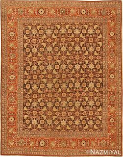 ANTIQUE PERSIAN TABRIZ RUG. 5 ft 4 in x 4 ft (1.63 m x 1.22 m )