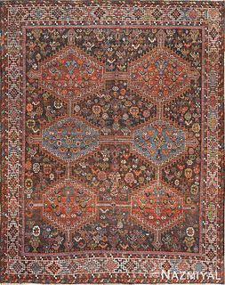 ANTIQUE TRIBAL AFSHAR PERSIAN RUG. 6 ft 4 in x 5 ft (1.93 m x 1.52 m)