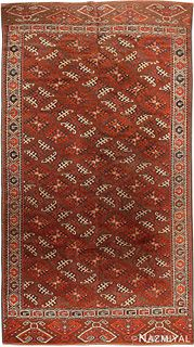 ANTIQUE YOMUD CENTRAL ASIAN RUG. 10 ft 10 in x 5 ft 10 in (3.3 m x 1.78 m).