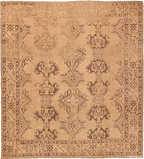 ANTIQUE TURKISH OUSHAK AREA RUG. 11 ft 9 in x 10 ft 8 in (3.58 m x 3.25 m)