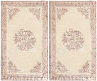 PAIR OF ANTIQUE CHINESE CARPETS. 5 ft x 3 ft (1.52 m x 0.91 m )+5 ft x 3 ft (1.52 m x 0.91 m)