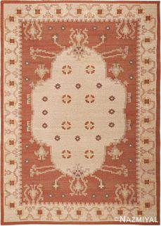 VINTAGE SWEDISH FLAT WOVEN AREA RUG. 9 ft 5 in x 6 ft 8 in (2.87 m x 2.03 m)