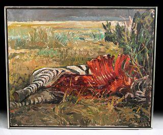 Exhibited Draper Painting Zebra Carcass, Kenya, 1969