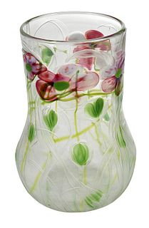 Tiffany Favrile Engraved Millefiori Paperweight Vase