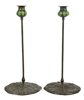 Pair Tiffany Favrile and Bronze Candlesticks