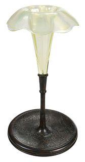 Tiffany Favrile Trumpet Vase with Bronze Base