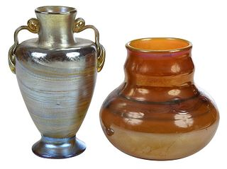 Two Tiffany Favrile Art Glass Vases