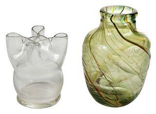 Tiffany Favrile Art Glass Vase and Green Vase