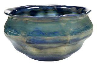 Tiffany Blue Favrile Art Glass Bowl