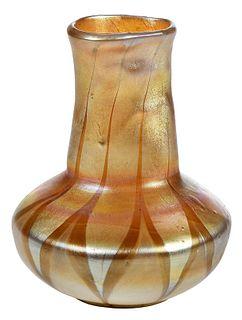 Tiffany Gold Favrile Art Glass Bud Vase