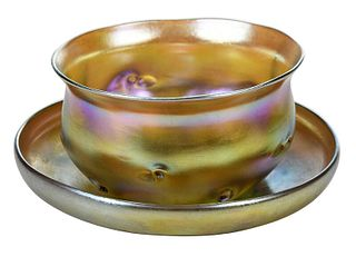 Tiffany Favrile Finger Bowl and Saucer