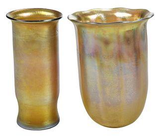 Two Tiffany Studios Favrile Glass Vase Insert
