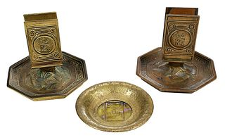 """Two Tiffany Bronze """"Bookmark"""" Match Stands, Ashtray"""